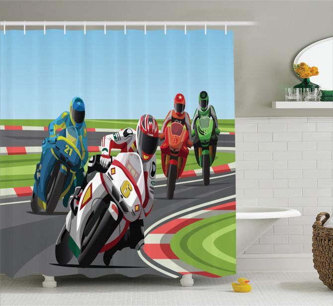 Motosiklet Yarışı Temalı Duş Perdesi Motor Sporları