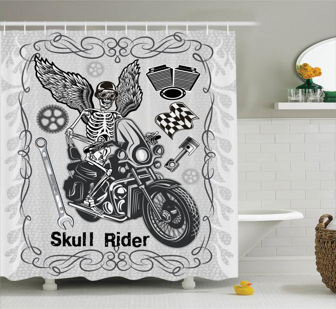 Motosiklet Tutkusu Temalı Duş Perdesi Kurukafa Gri
