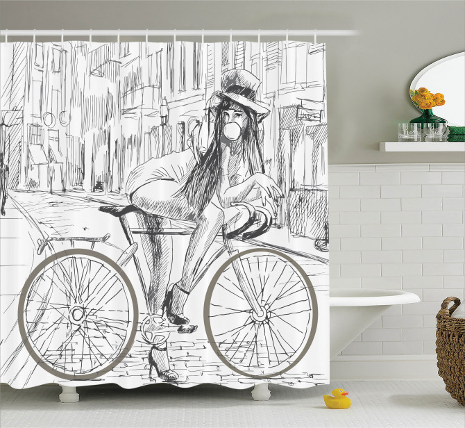Mavi Duş Perdesi Bisiklet Modern Sanat Şık Tasarım