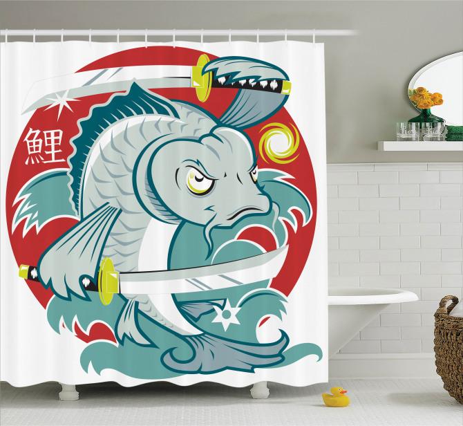 Japon Dekor Duş Perdesi Samuray Kılıçlı Koi Balığı