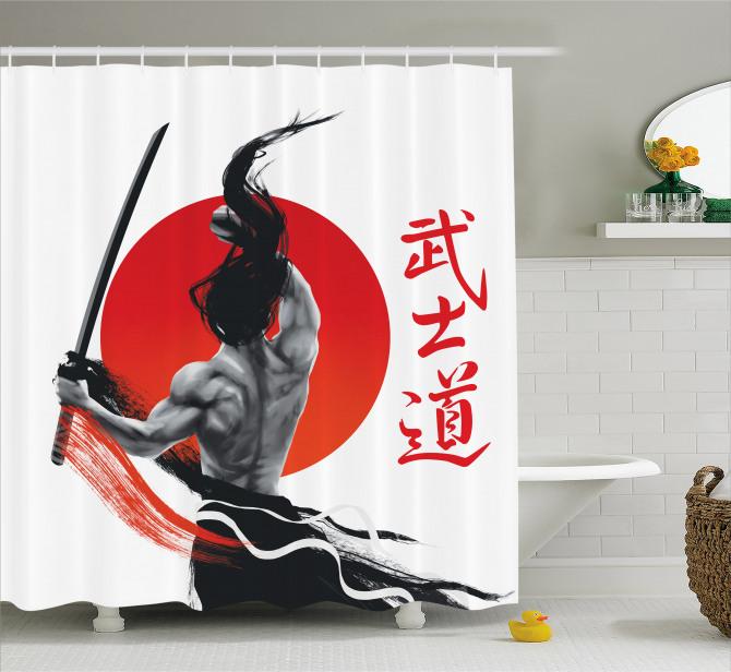 Japon Dekor Duş Perdesi Samuray ve Kılıcı Kırmızı