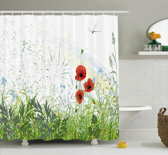 Red Poppies Dragonfly Shower Curtain