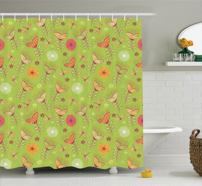 Çan Çiçeği Desenli Duş Perdesi Bahar Yeşil Turuncu