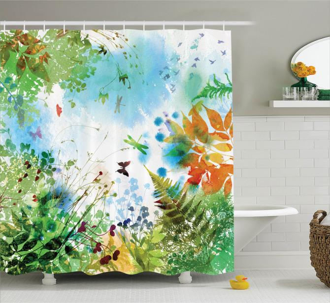 Suluboya Etkili Duş Perdesi İlkbahar Doğa Yeşil