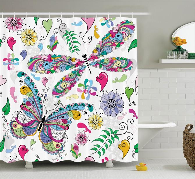 Renkli Kelebek Desenli Duş Perdesi Çiçekler Kalpler