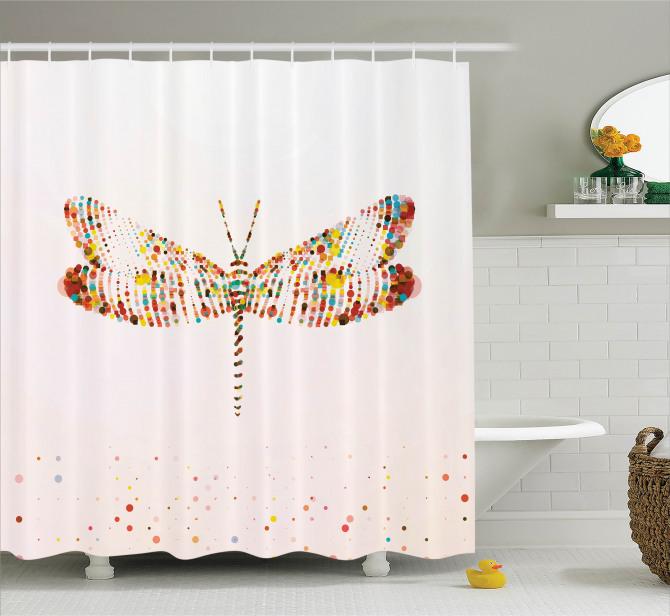 Renkli Kelebek Desenli Duş Perdesi Sanatsal Yusufçuk