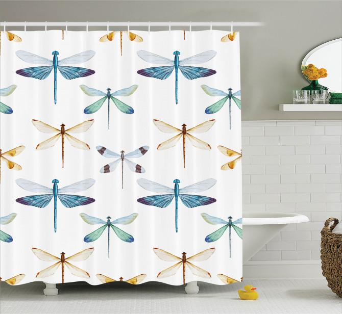 Yusufçuk Desenli Duş Perdesi Trend Şık Tasarım Beyaz