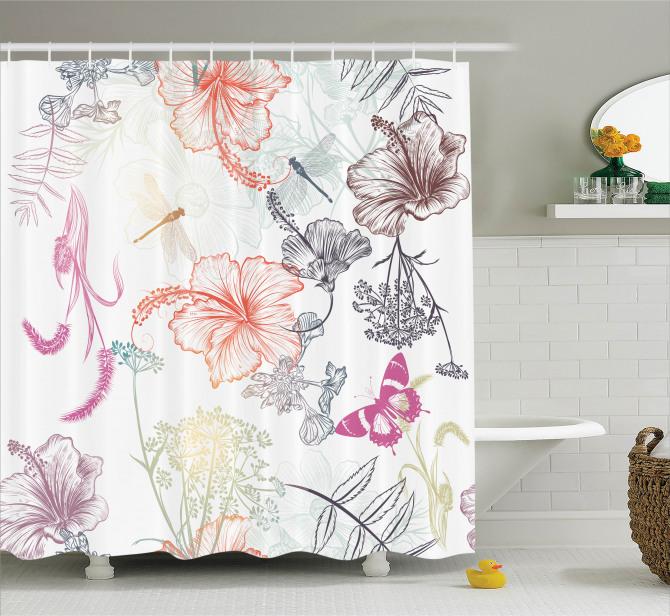 Bahar Temalı Duş Perdesi Çiçekler Kelebekler Turuncu