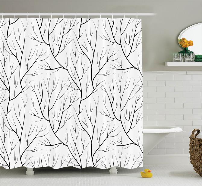 Siyah Beyaz Duş Perdesi Sonbahar Temalı Ağaç Dalları