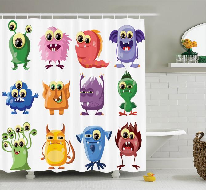 Çocuklar için Duş Perdesi Rengarenk Sevimli Canavar