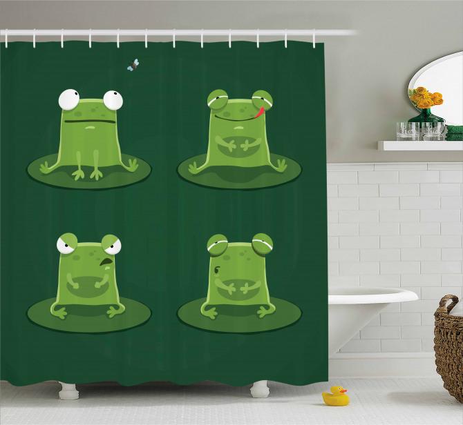 Çocuklar için Duş Perdesi Sevimli Yeşil Kurbağa