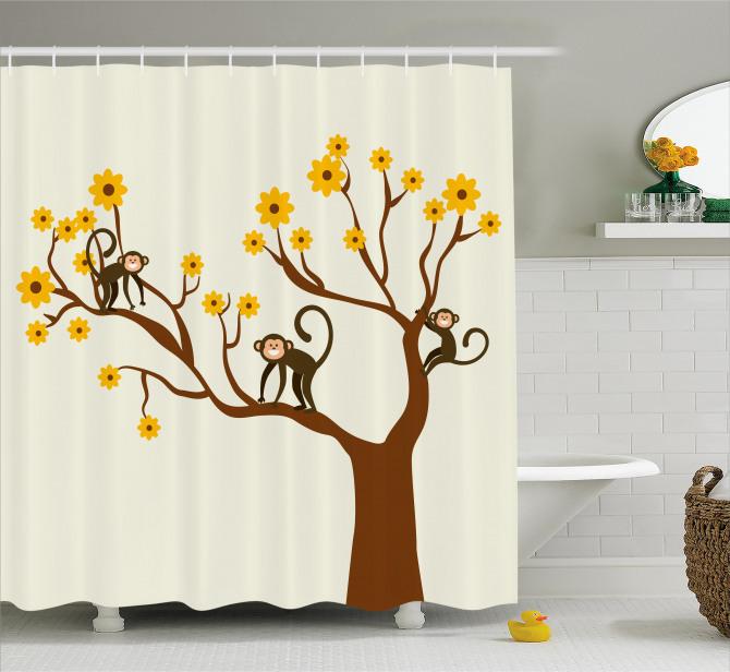 Çocuklar için Duş Perdesi Kahverengi Ağaç Maymun