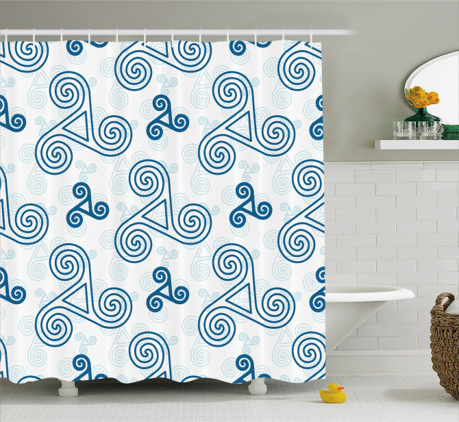 Mavi Üçlü Kelt Spirali Desenli Duş Perdesi Geometrik