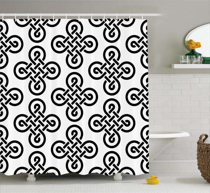 Kelt Geometrik Düğüm Desenli Duş Perdesi Siyah Beyaz