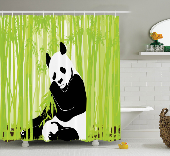 Panda In Bamboo Forest Shower Curtain