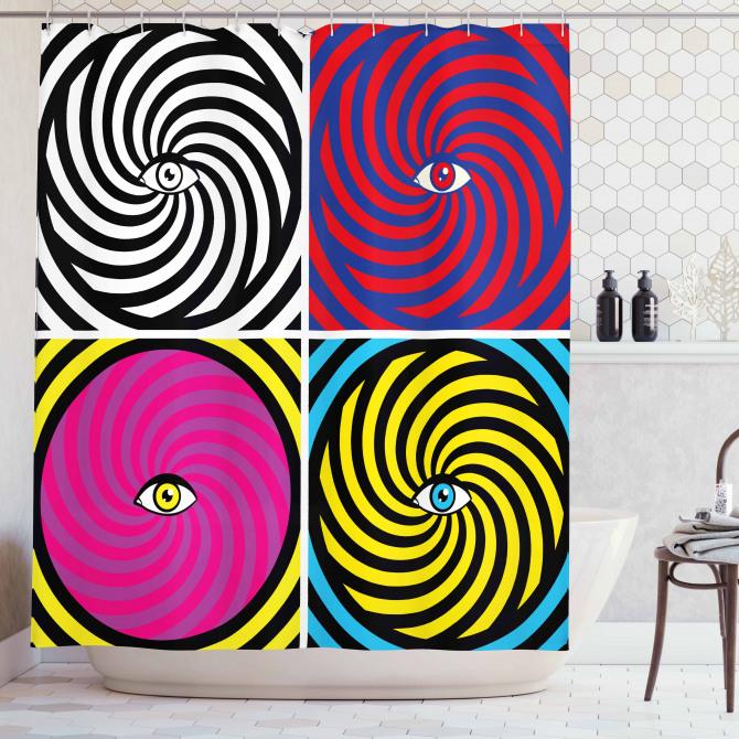 Rengarenk Girdap ve Göz Desenli Duş Perdesi Modern