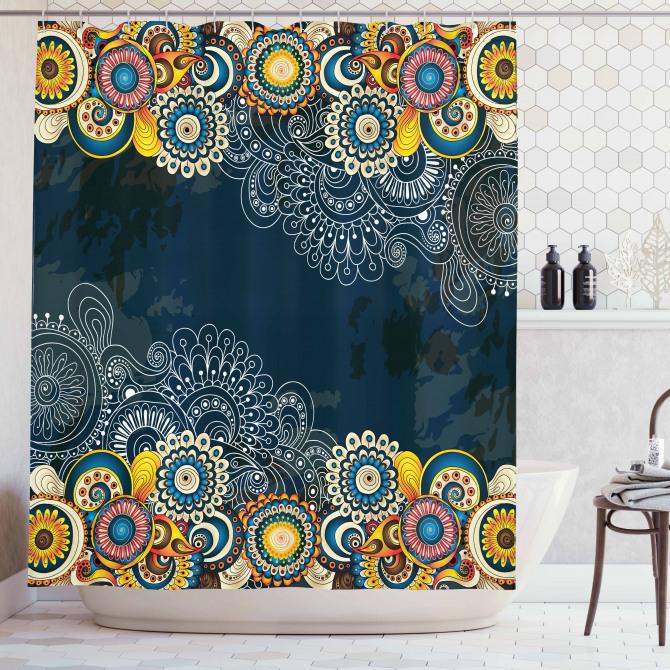 Rengarenk Şal Tarzı Çiçek Desenli Duş Perdesi Mavi