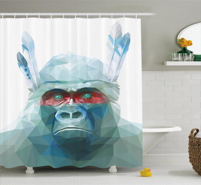 Mavi Kristal Maymun Desenli Duş Perdesi Dekoratif