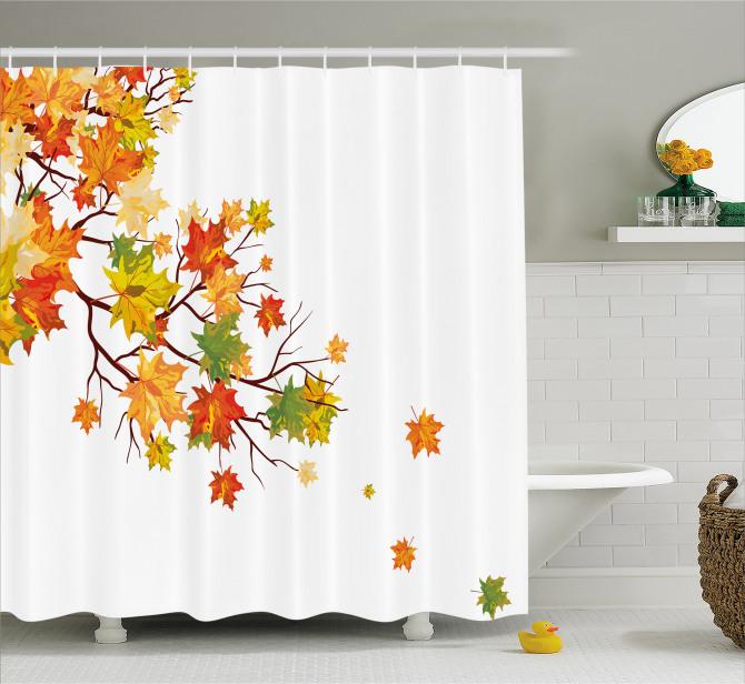 Autumn Foliage Maple Leaf Shower Curtain