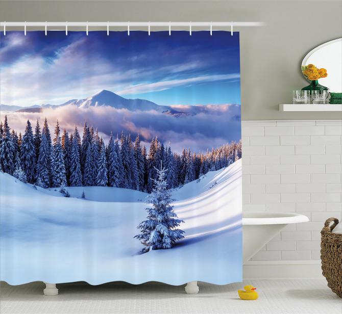 Kış Temalı Duş Perdesi Karlı Dağ Manzaralı Bulutlar