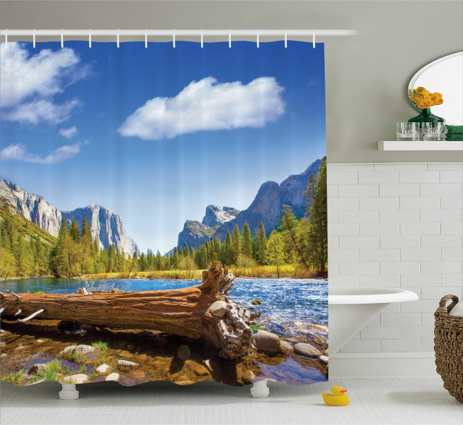 Doğada Huzur Temalı Duş Perdesi Nehir Orman Dağ