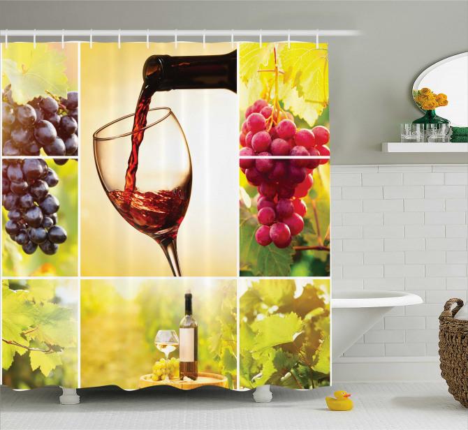 Şarap Temalı Duş Perdesi Romantik Bağ Manzaralı