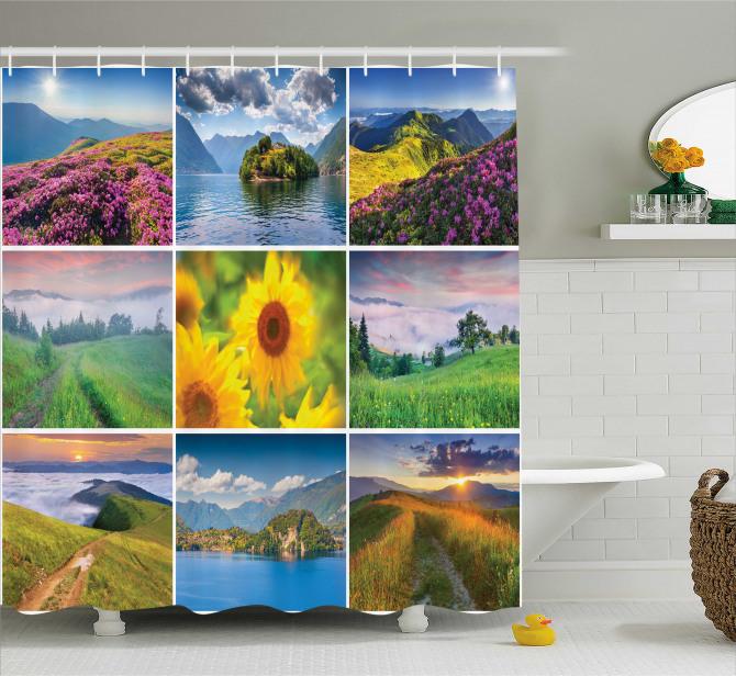 Idyllic Scenery Collage Shower Curtain
