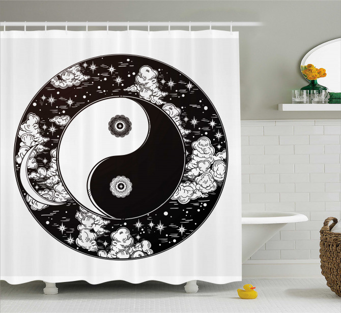 Siyah Beyaz Duş Perdesi Yin Yang Sembolü Bulutlar