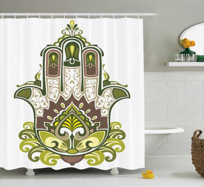Büyük Fatımanın Eli Desenli Duş Perdesi Yeşil Mor
