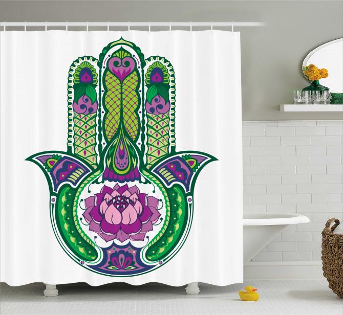 Yeşil Mor Fatımanın Eli Desenli Duş Perdesi Çiçekli