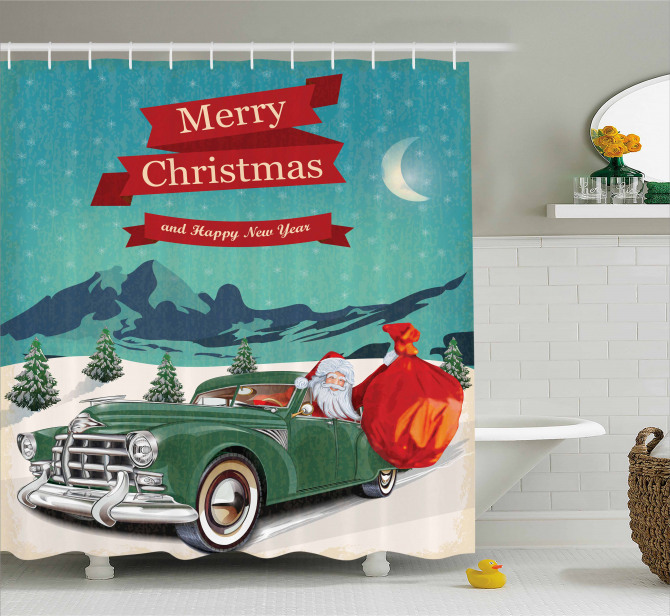 Santa in Classic Car Shower Curtain