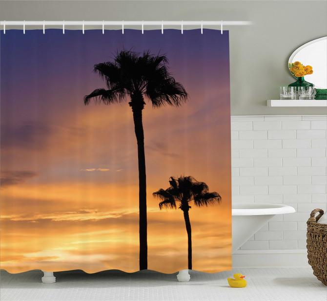 Romantik Gün Batımı Desenli Duş Perdesi Turuncu Mor