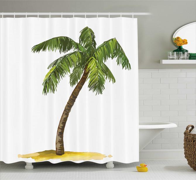 Palmiye Ağacı Desenli Duş Perdesi Yeşil Beyaz