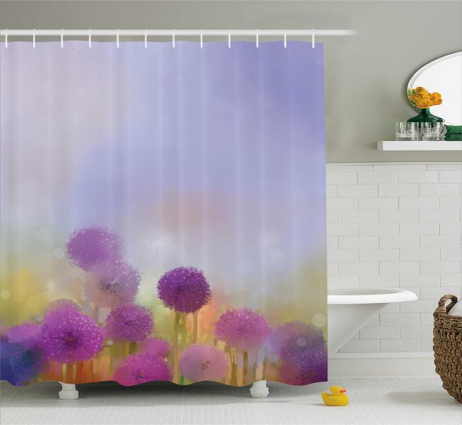 Mor Çiçek Desenli Duş Perdesi Şık Tasarım Mavi