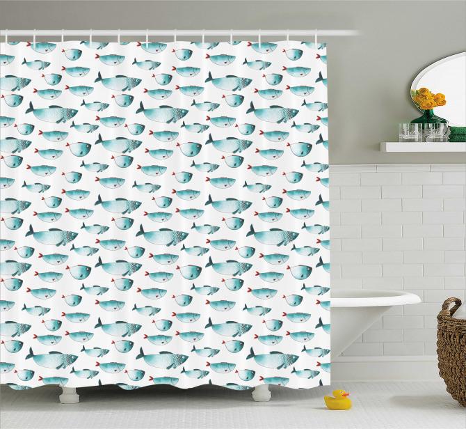 Çocuklar için Duş Perdesi Yeşil Sevimli Balıklar