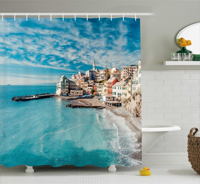Sahil Kasabası Manzaralı Duş Perdesi Deniz Mavi