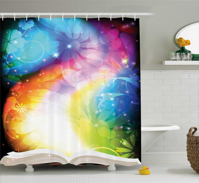 Rengarenk Duş Perdesi Peri Masalı Kitabı Şık Tasarım