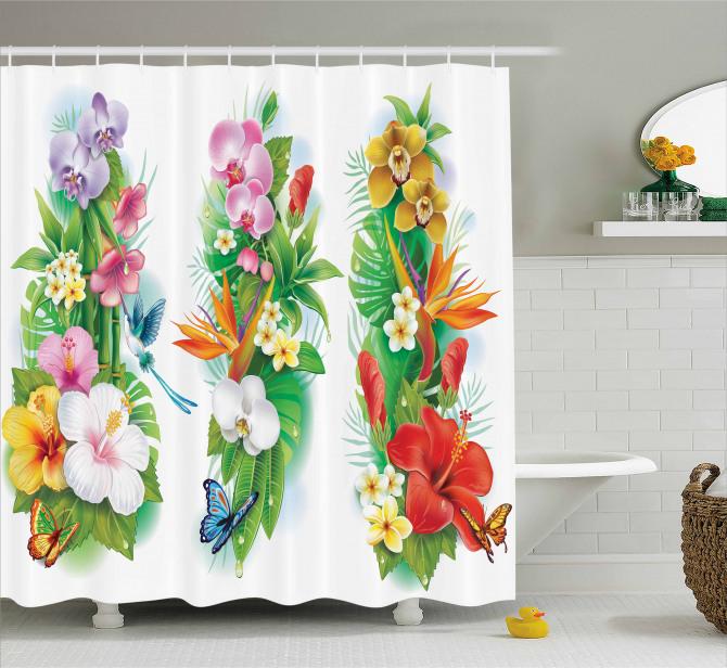 Bahar Temalı Duş Perdesi Tropikal Çiçekler Turuncu
