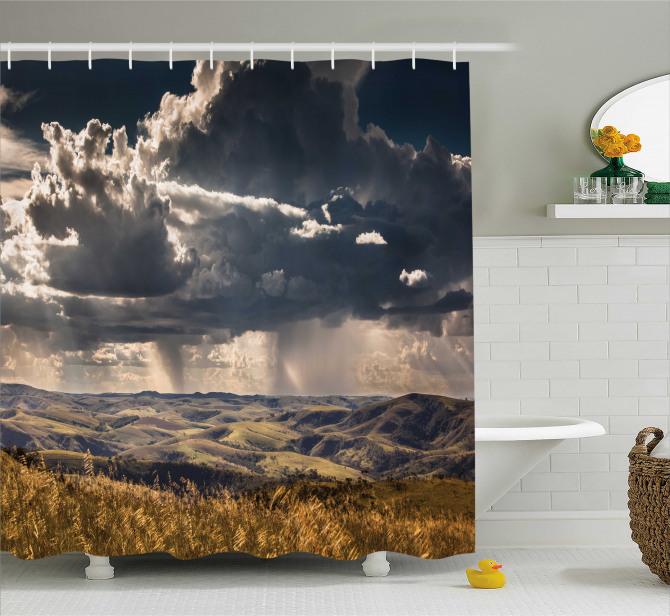 Büyüleyici Gökyüzü Manzaralı Duş Perdesi Dağ Bulut