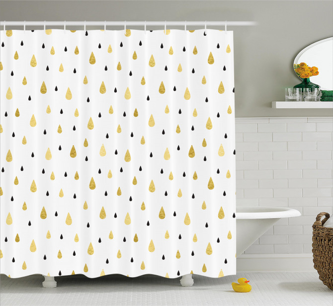 Sarı Beyaz Duş Perdesi Yağmur Damlacıklı Şık Tasarım
