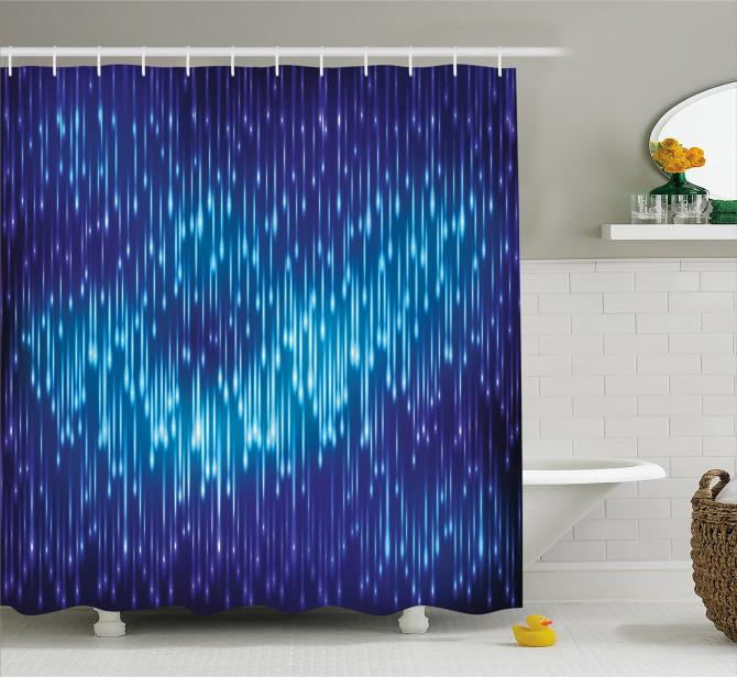 Lacivert Duş Perdesi Yağmur Damlacıklı Şık Tasarım