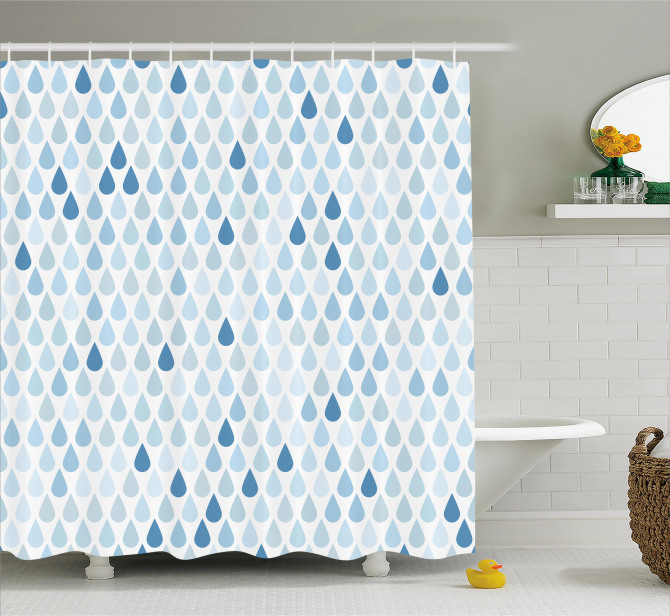 Mavi Beyaz Duş Perdesi Yağmur Damlacıklı Şık Tasarım