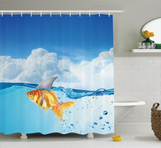 Mavi Duş Perdesi Komik Turuncu Balık Köpek Balığı