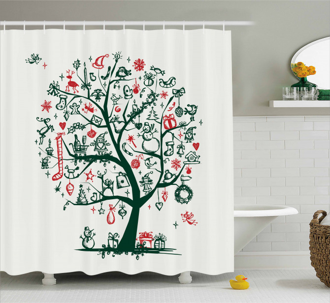 Tree Ornaments Gifts Shower Curtain