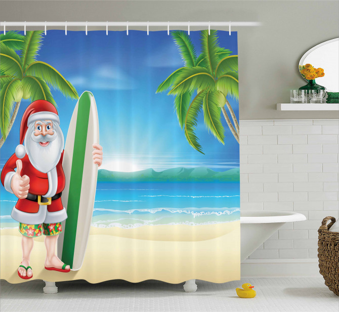Santa with Surfboard Shower Curtain