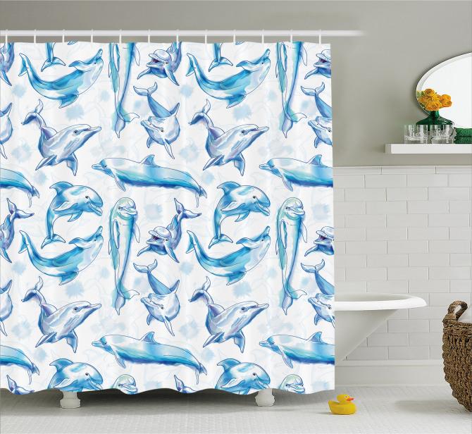 Okyanus Hayatı Temalı Duş Perdesi Mavi Yunus Desenli