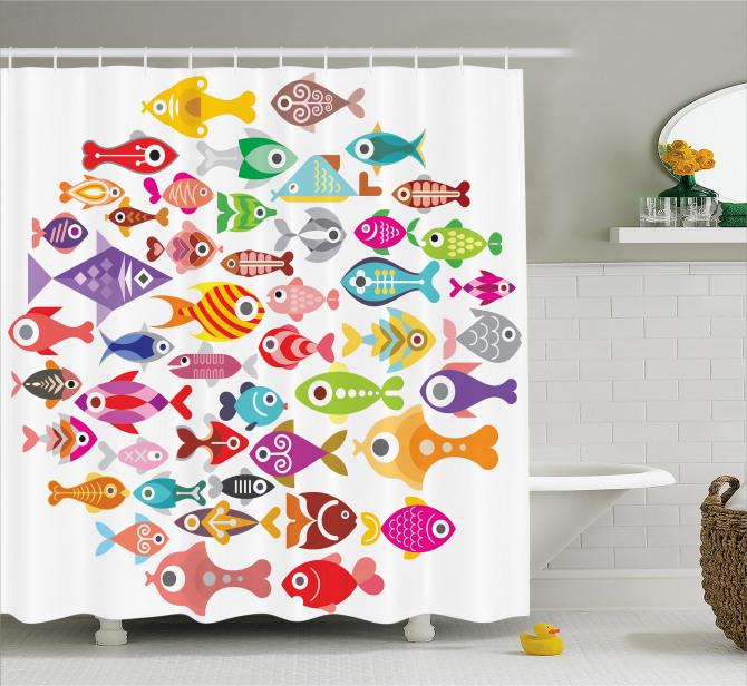 Colorful Aquarium Fishes Shower Curtain