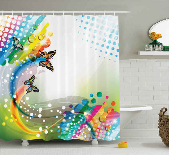 3a0f84adba649 Flying Color Butterfly Shower Curtain