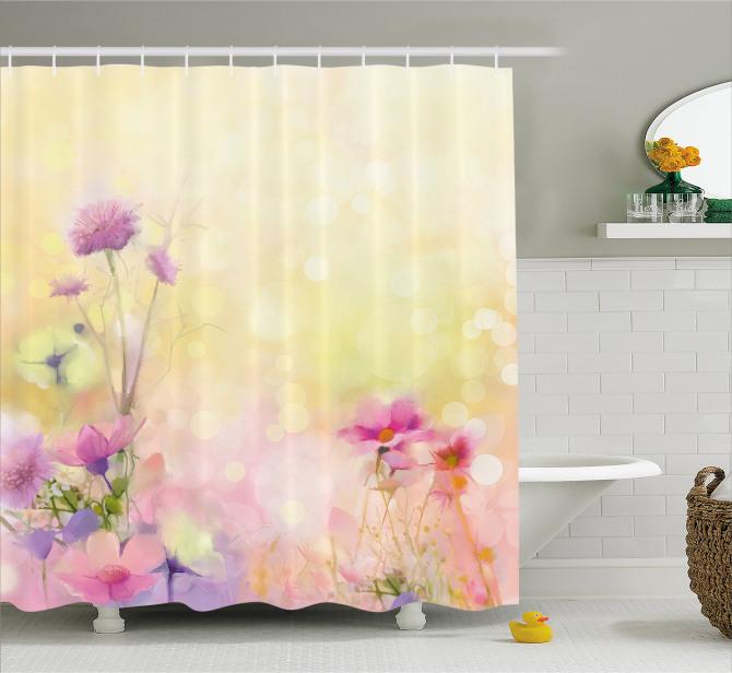 Bahar Temalı Duş Perdesi Pastel Romantik Şık Tasarım