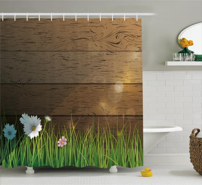 Bahar Temalı Duş Perdesi Papatya Bahçesi Kahverengi